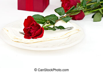 Place Setting with Red Rose - Place setting with red roses...