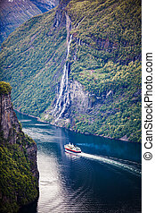 Geiranger fjord, Norway - Geiranger fjord, waterfall Seven...