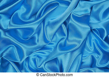Blue Silk cloth of wavy abstract background - Blue Silk...