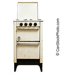 old gas stove - old gas cooker over the white background