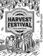 Harvest Festival Poster b and w - Harvest festival poster in...