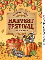 Harvest Festival Poster - Harvest festival poster in woodcut...