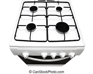 gas stove - top view of white gas stove with ipen stove over...