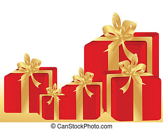 red gift boxes with golden ribbons