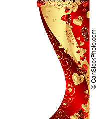 vertical red abstract wavy heart frame