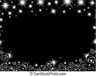 Abstract background in black and white with hearts and stars...