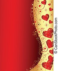 vertical abstract wavy heart frame in red and gold