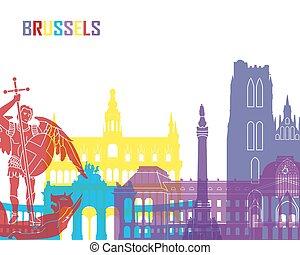 Brussels skyline pop in editable vector file