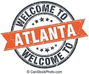 welcome to Atlanta orange round ribbon stamp