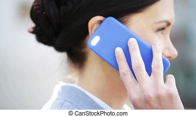 happy young business woman calling on smartphone - business,...