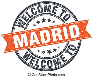 welcome to Madrid orange round ribbon stamp