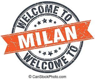 welcome to Milan orange round ribbon stamp