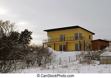 Yellow rural cottage - Uninhabited yellow rural cottage with...