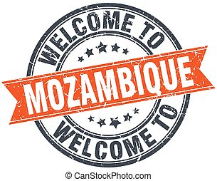welcome to Mozambique orange round ribbon stamp