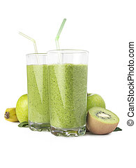 Green Smoothie verticle in glasses - Green Smoothie isolated...