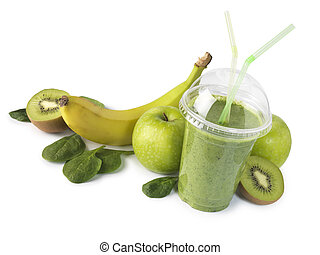 Healthy green smoothie with fruit - Green smoothie with...