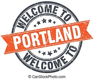 welcome to Portland orange round ribbon stamp