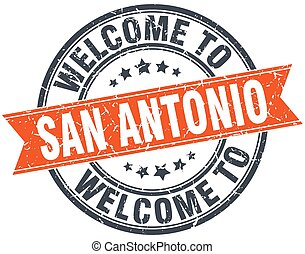welcome to San Antonio orange round ribbon stamp