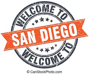 welcome to San Diego orange round ribbon stamp