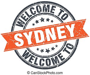 welcome to Sydney orange round ribbon stamp