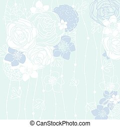 blue background with flowers - blue background with a hand...