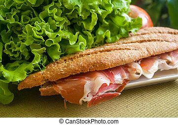 sandwich with ham bocadillo - traditional Spanish sandwich...