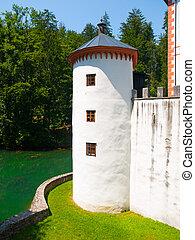 White guard tower of Sneznik Castle - Small corner guard...