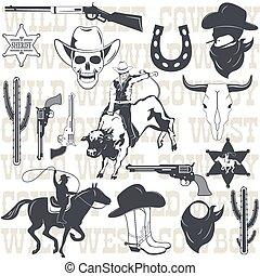 Set of wild west cowboy designed elements. Vector...