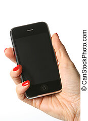 Cell phone in a hand 4 - Cell Phone isoleted on white...