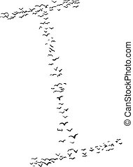 Bird Formation In I - Illustration of a flock of birds in...