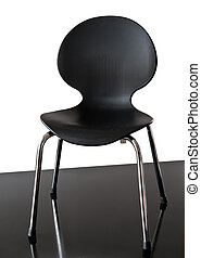 Childs chair - Black childrens chair on black and white...