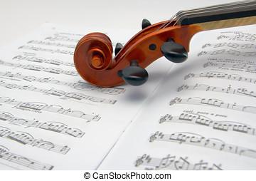 小提琴, 紙卷, 休息, 表, 音樂
