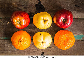 fruits on a wooden