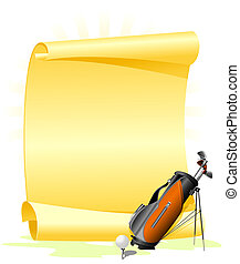 Blank golf invitation with golf bag and ball