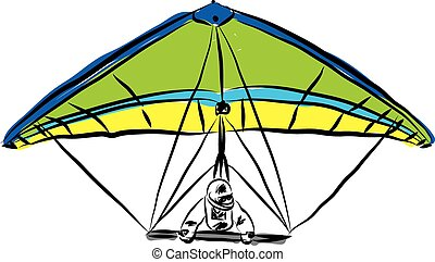 hang gliding illustrationeps - hang gliding illustration