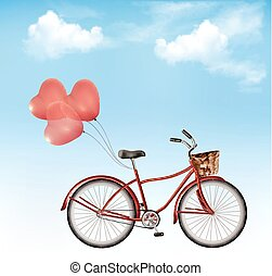 Bicycle with red heart shaped balloons in front of a blue sky background.