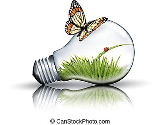 Eco light bulb with grass, a ladybug and a butterfly.