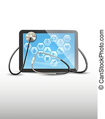 Tablet with medical icons and a stethoscope. .