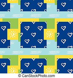 Background seamless pattern with sun, heart and waves
