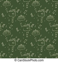 Seamless pattern with a purse and money on a green background.