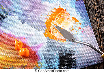Aristic paint and putty knife - Acrylics paints on canvas...