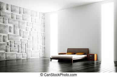 Modern bedroom interior 3d - Modern bedroom with big windows...