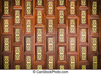 Traditional thai wooden carving wall - Traditional wooden...