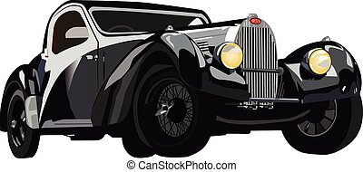 Classic black car - Vector graphic illustration design of a...