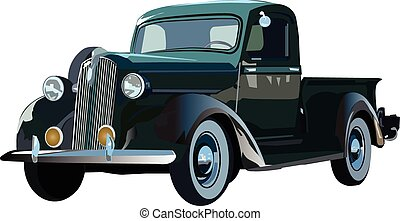 Green truck - Vector graphic illustration design of a old...