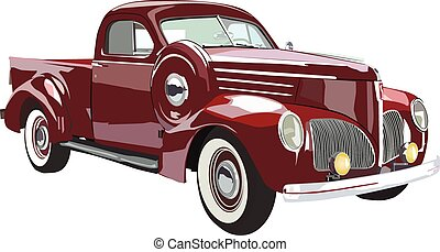 Red truck - Vector graphic design of a old classic car.