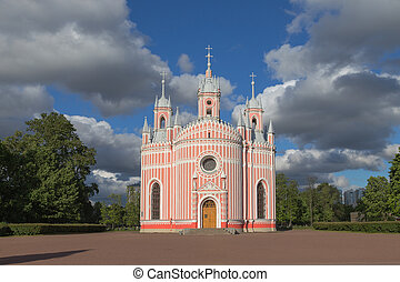Chesma Cathedral at St.Petersburg, Russia - One of the most...