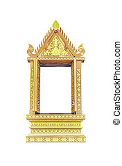 Wooden thai window on white - Wooden thai window isolated on...