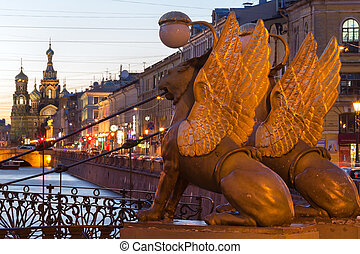 Lion wings at Bank Bridge at StPetersburg, Russia - The...