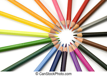 Rays of color pencils